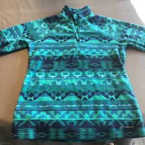 Eddie Bauer Tops - Blue & Green Eddie Bauer Quarter Zip Fleece